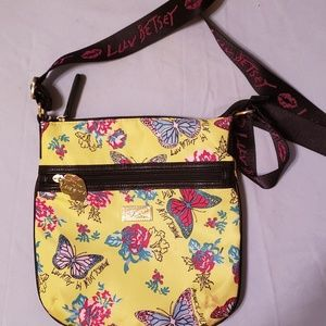BETSY JOHNSON YELLOW BUTTERFLY LUV CROSSBODY